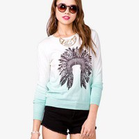 Ombré Feather Headdress Sweater
