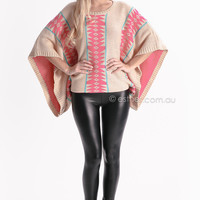 edge to edge cape knit jumper - brown/pink at Esther Boutique