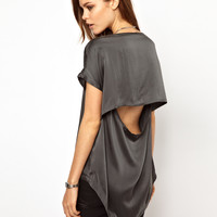 2nd Day Silk Tee With Dipped Back at asos.com