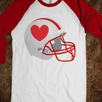 Football Helmet & Heart red / red