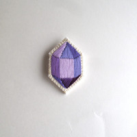 Purple geometric brooch hand embroidered faux gem