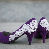 Wedding Shoes, Purple Bridal Heels, Wedding Heels with Ivory Lace. US Size 7