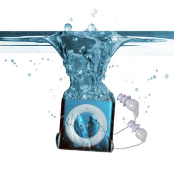 100% WATERPROOF Apple iPod shuffle - waterproofed by UNDERWATER AUDIO for swimming, surfing and dancing in the rain ***Discounted Headphone Promotion Available - Select color to see details below***
