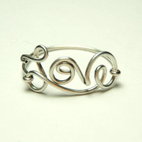 Love ring - cute unique love wire ring- by keoops8