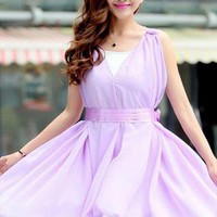 free belt underlay purple falbala chiffon summer dress h40 from YRB