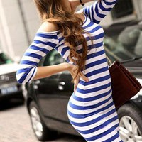 Fitted Blue and White Retro Stripe, Off-the-Shoulder Dress from AniXia