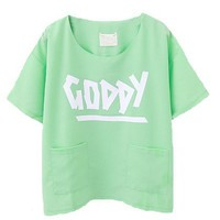 Green Oversized and Cropped Chiffon T-shirt with Letter Print and Twin Pockets