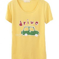 Yellow Round Neckline T-shirt with Car Print