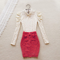 Embroidery Bowknot Gauze Skirts