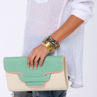 Days Go By Mint and Cream Clutch