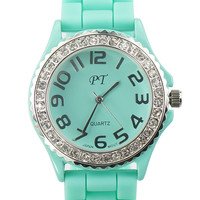 Mint Diamonded Silicone Belt Sports Watch