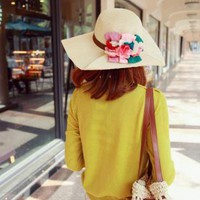 Floral Floppy Bow Hat