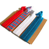 Elastic Hair Ties Red White and Blue Chevron Yoga Hair Bands