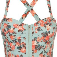 Amazon.com: FULL TILT Floral Zip Front Corset: Clothing