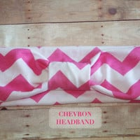 Pink Chevron Turban Headband - Head-wrap,  Hair Accessories