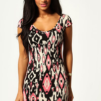 Layla Multi Aztec Cap Sleeve Bodycon Dress