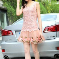 pink embroidery organza lace elegant dress final sale l335 from YRB