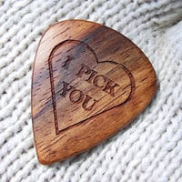 Wood Guitar Pick - Handmade Custom Engraved Exotic Amazon Rosewood