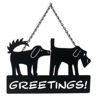 DOG GREETINGS SIGN | Steel Dogs Greeting Each Other Funny Front Porch Sign By Stacey Lamothe | UncommonGoods