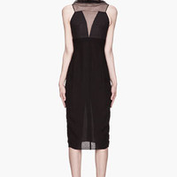 Rick Owens Black Semi-sheer Silk Prong Dress for women | SSENSE