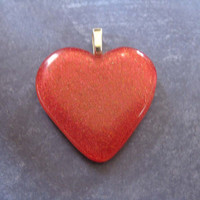 Heart Pendant, Dichroic Red Heart, Couples Jewelry, Heart Jewelry - Dear One - 889 -1