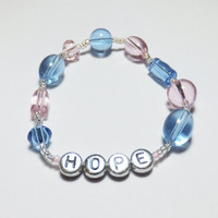 HOPE with Pink and Blue Glass Stretch Beadwork Bracelet