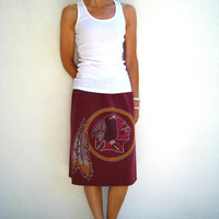 Washington Redskins T Shirt Skirt / Upcycled / Recycled / Burgundy Red Gold / NFL / Drawstring / Women / Girls / Cotton / Soft / Fun / ohzie