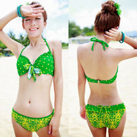 Flouncing Polka Dot Floral Print Halter Padded Bra Bottom Shorts Swimsuit 1Ju