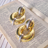 Vintage Door Knocker Earrings / Pierced / Two Tone Gold & Silver / 1980's