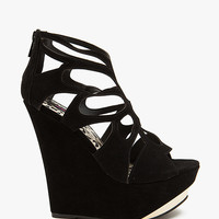 Dynamite Metal Toe Fx Suede Caged Wedge