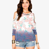 Cutout Shoulder Floral Pullover