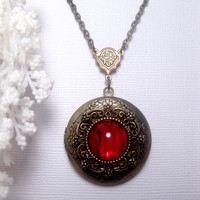Cat Scratch Red Glass Locket