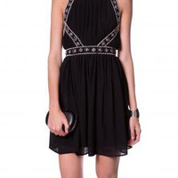 BLACK EMBELLISHED PARTY DRESS