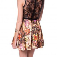 ORANGE FLOWERS PRINT LACE BACK DRESS