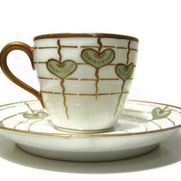 Vintage Blakeman and Henderson Limoges Green Heart Tea Cup and Saucer