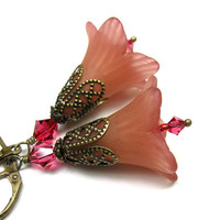 Hand Dyed Lucite Flower Dangle Earrings, Vintage Style Jewelry, Pink Salmon, Crystal Jewelry, Antiqued Brass, For Her