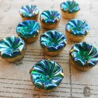 Vintage glass stones blue irridescent West German rhinestones brass settings12mm (2)