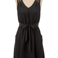 V-Neck Stud Shoulder Tank Dress