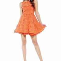 Orange Fit and Flare Dress with Swirl Design