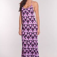 Lavender Multi Tribal Print Maxi Dress