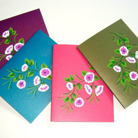 Blank Cards Hand Painted Set of Four