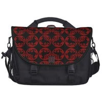 Gryphon Silhouette Pattern - Red and Black Bags For Laptop from Zazzle.com