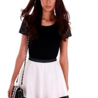 White Skater Skirt with Waist & Bottom Black Leather Trim
