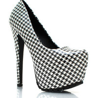 Faux-Patent-Houndstooth-Pumps BLACK HOTPINK YELLOW - GoJane.com