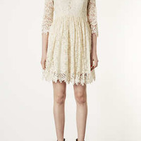 Scallop Hem Lace Dress - Dresses  - Clothing