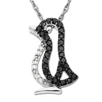 14k White Gold Black and White Diamond Penguin Pendant (1/6 cttw), 18""