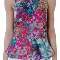 Floral Watercolor Print Peplum Top with Black T-Back