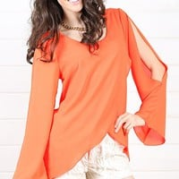 Orange Slit Sleeve Top and Shop Tops at MakeMeChic.com