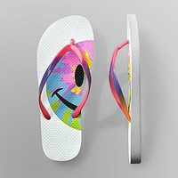 Joe Boxer- -Women's Foam Sole Flip-Flops - Smiley Tie-Dye-Shoes-Juniors Shoes-Juniors Sandals