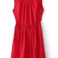 Pleated Sleeveless chiffon dress